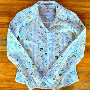 Vintage Floral & Ruffled Button Up